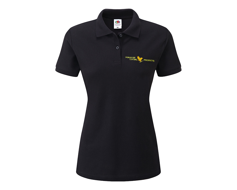 Forever ladies fitted polo shirt black forever living for Black fitted polo shirt